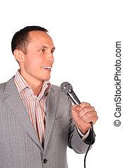 jovem, homem, microfone