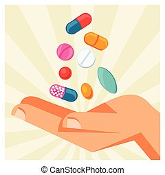 Illustration of hand holding various pills and capsules.
