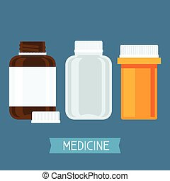 Set of three medical bottles with pills