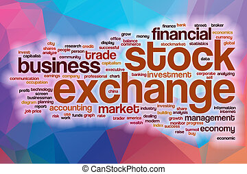 Stock exchange word cloud with abstract background
