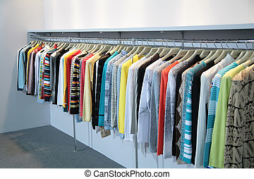 clothes on racks