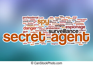 Secret agent word cloud with abstract background - Secret...