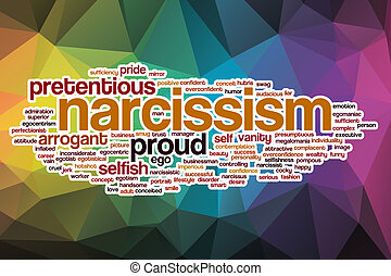 Narcissism word cloud with abstract background - Narcissism...
