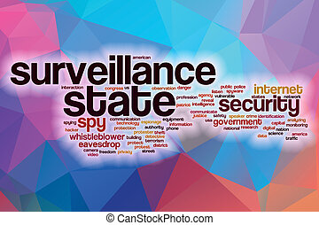 Surveillance state word cloud with abstract background -...