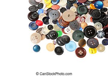 Bottoni, molti, bianco, vecchio, mucchio
