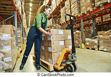 warehouse female worker at work