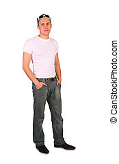 man stand on white background