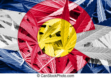 Colorado State Flag on cannabis background Drug policy...