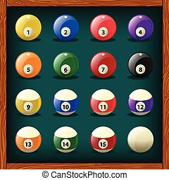 Complete set of balls for pool on green cloth. Vector...