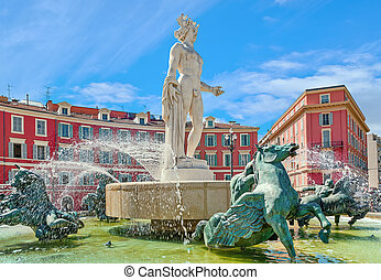 Fountain of the Sun in Nice, France. - Famous Fontaine du...