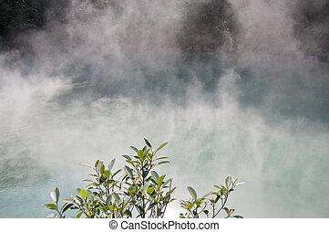 Hot spring steamy lake