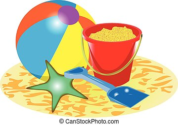 BEACH BALL BUCKET AND SPADE