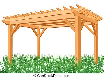 pergola - wooden pergola isolated on a white background
