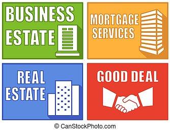 set colorful real estate emblems
