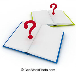 Open Books and a Question Marks