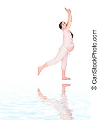 Pregnant girl doing exercise sideview