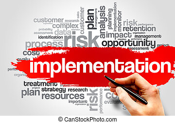 Implementation word cloud, business concept
