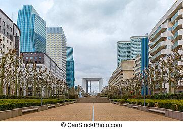 Skyscraper on the Esplanade De La Defense in Paris, France -...