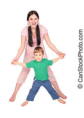 Pregnant girl with child doing exercise