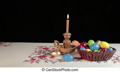 Easter - Orthodox Easter. On the table is a plate with...