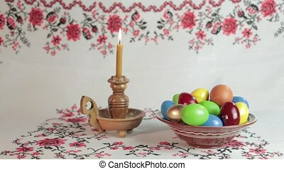 Happy Easter - Orthodox Easter On a table covered with a...