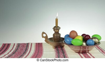 Happy easter - Easter still life. Orthodox Easter. On a...