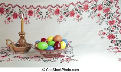 Easter still life - Orthodox Easter On a table covered with...
