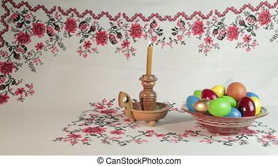 Easter still life - Orthodox Easter. On a table covered with...