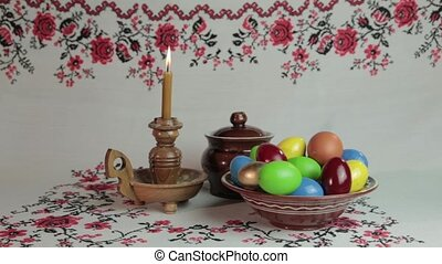 Orthodox Easter. On a table covered with a tablecloth with...