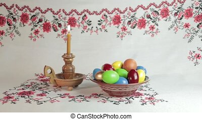 Easter - Orthodox Easter. On a table covered with a...