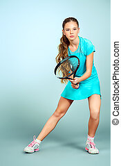 great sport - Full length portrait of a girl tennis player....
