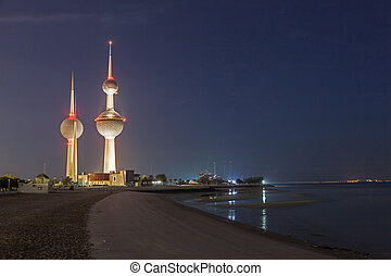 The famous Kuwait Towers - Arabian Gulf beach and the famous...