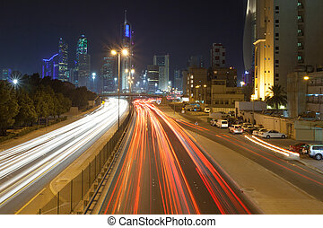 Traffic in the city of Kuwait at night, Middle East
