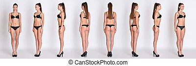 Many woman figures fill lengh from all angles in underwear...