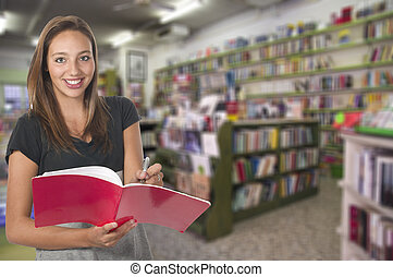 young girl in library think about what to buy