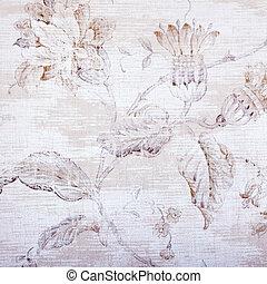 beige, andrajoso, papel pintado, con, floral, patrón,...