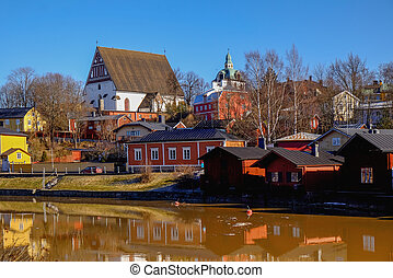 Old Porvoo - the medieval town in Finland - old wooden...