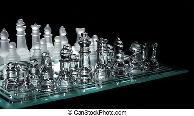 Move in chess on chesboard. Isolated  black. Slow motion
