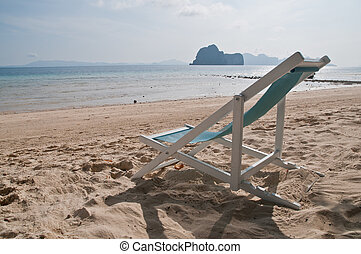Relax beach chair on calm Asian shore