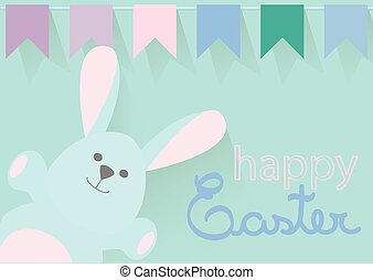 Happy Easter - Easter bunny and bunting banners flat desing
