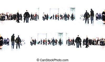 white abstract people in hall