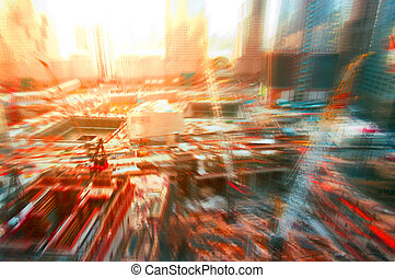 Abstract background construction site in New York, blurred and f