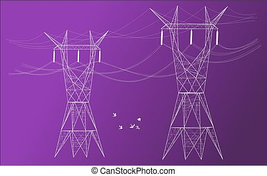 Electrical posts and background - Silhouette of two...