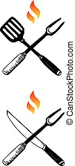 Barbecue Utensils - Two symbols of barbecue exemplified as...