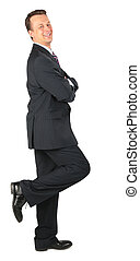 happy businessman stands on one leg,  lean one\'s elbows
