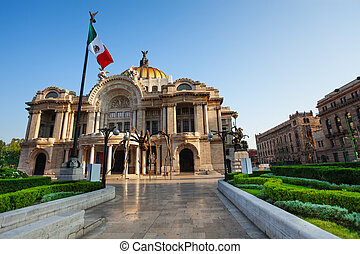Palace of fine arts facade and Mexican flag on downtown of...