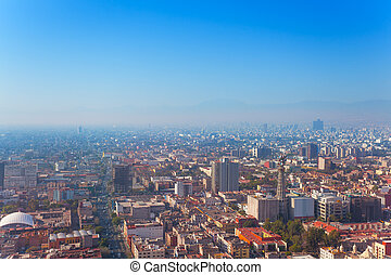 Mexico capital city from Torre Latinoamericana - Areal view...