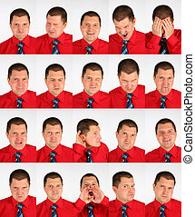 many faces grimace businessman