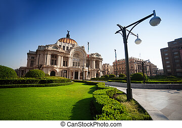 Palace of fine arts in Mexico at morning - Palace of fine...
