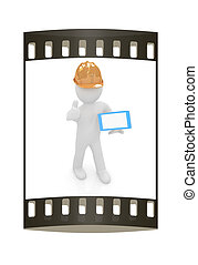 3d white man in a hard hat with thumb up and tablet pc. The...